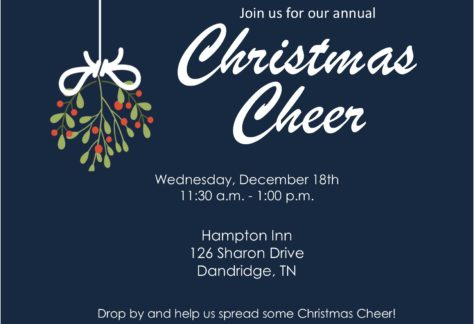 Event graphic for the annual Christmas Cheer event with location, time, and date on it.