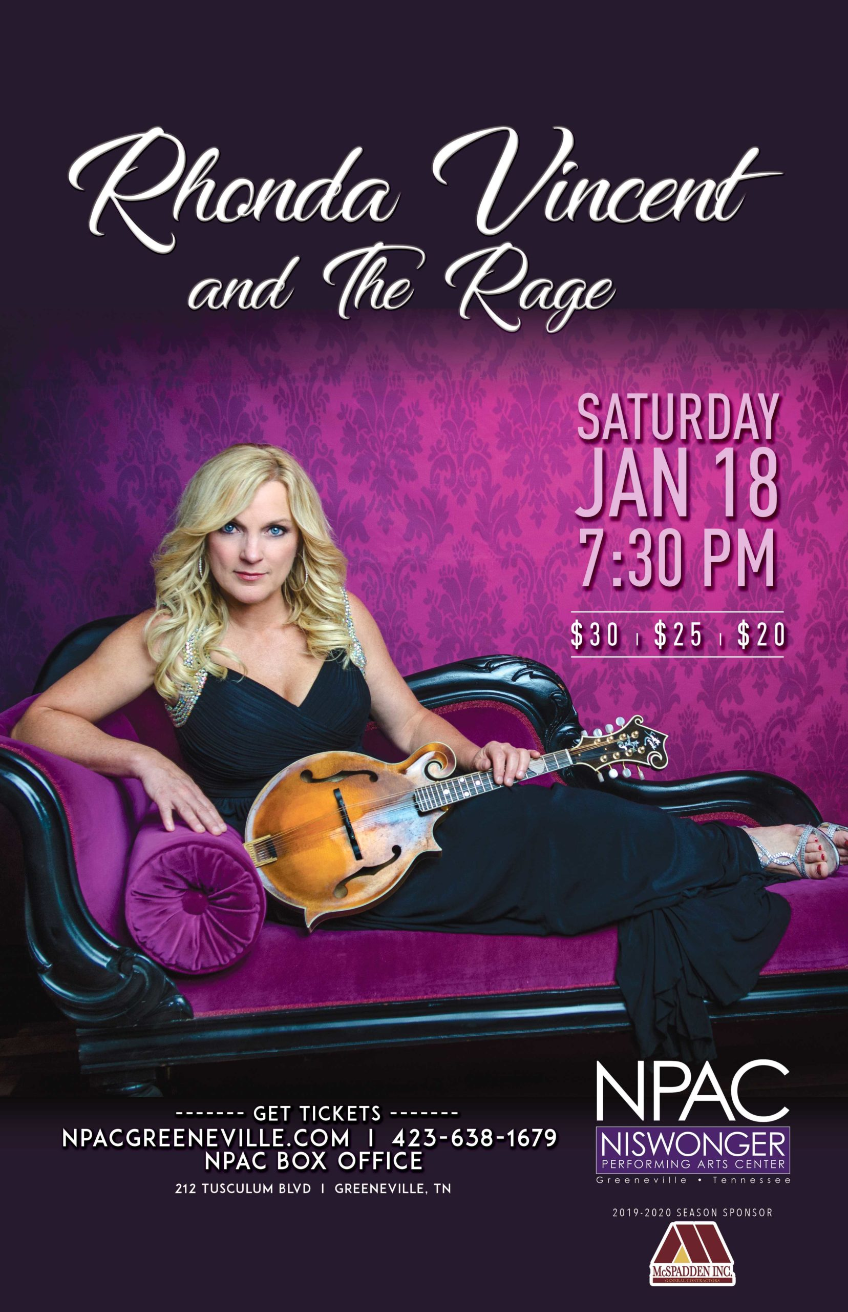 Rhonda Vincent and the Rage at Niswonger Performing Arts Center in Greenville, TN, performance poster