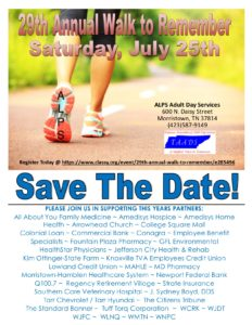 save the date graphic for the 29th annual walk to remember fundraiser taking place Saturday, July 25