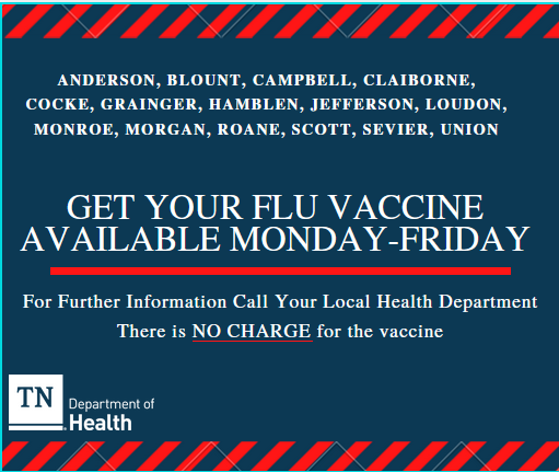 graphic from the TN dept of health on free flu vaccinations